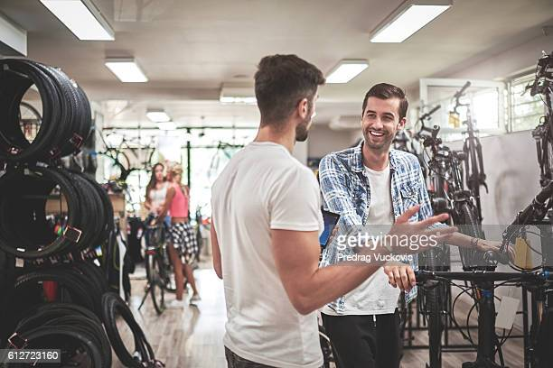 Customers in bicycle store