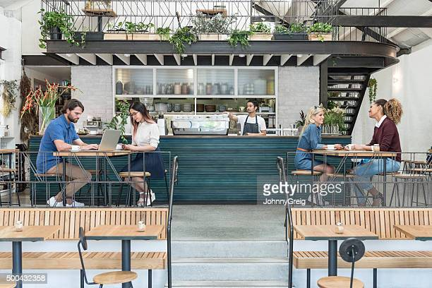 customers in modern cafe with drinks and laptop - coffee shop stock pictures, royalty-free photos & images