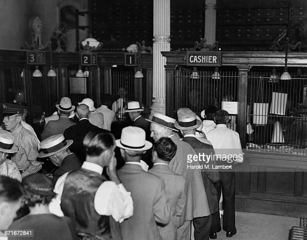 Customers In Queue In Bank