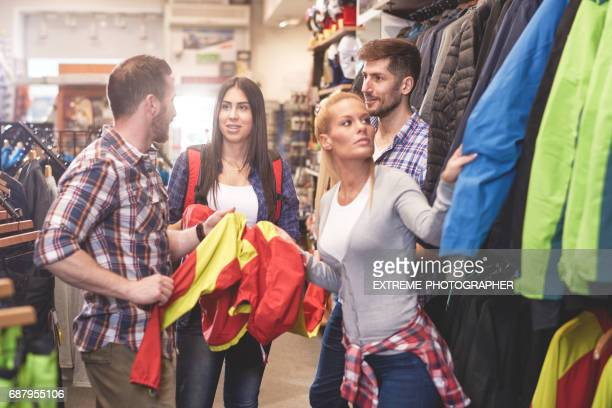 Customers in sports store