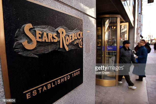 Customers leave a Sears store November 29 2007 in Chicago Illinois Sears reported a 99 percent drop in third quarter profit causing the company's...