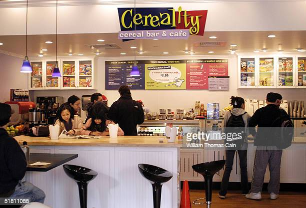 Customers line up at Cereality Cereal Bar and Cafe December 1 2004 in Philadelphia Pennsylvania Cereality sells almost any cereal imaginable on the...