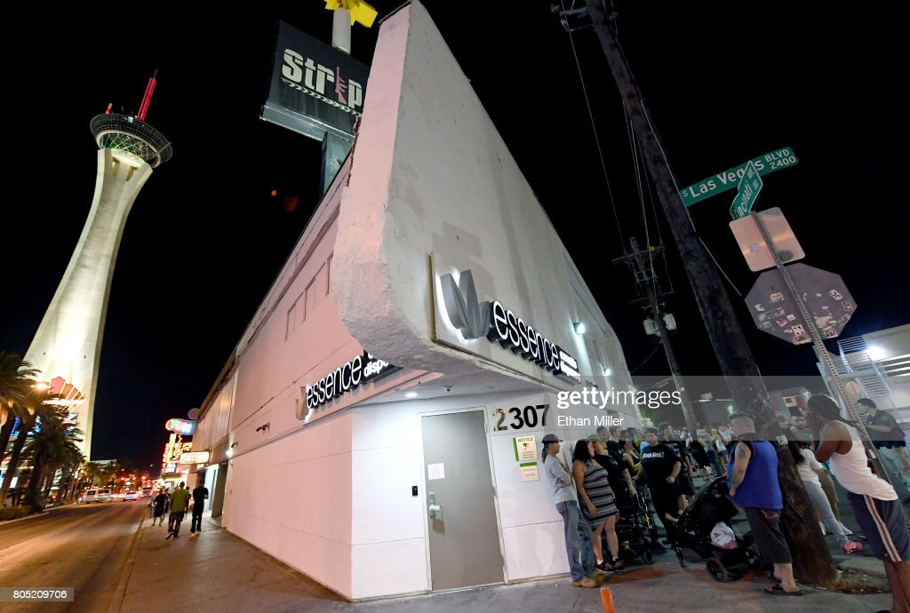 Customers line up outside Essence Vegas Cannabis Dispensary as they wait for the midnight start of recreational marijuana sales to begin on June 30, 2017 in Las Vegas, Nevada. On July 1, Nevada joins seven other states allowing recreational marijuana use and becomes the first of four states that voted to legalize recreational sales in NovemberÕs election to allow dispensaries to sell cannabis for recreational use to anyone over 21.