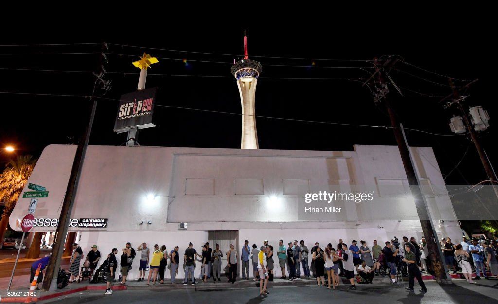 Customers line up outside Essence Vegas Cannabis Dispensary as they wait for the midnight start of recreational marijuana sales to begin on June 30, 2017 in Las Vegas, Nevada. On July 1, Nevada joins seven other states allowing recreational marijuana use and becomes the first of four states that voted to legalize recreational sales in November's election to allow dispensaries to sell cannabis for recreational use to anyone over 21.