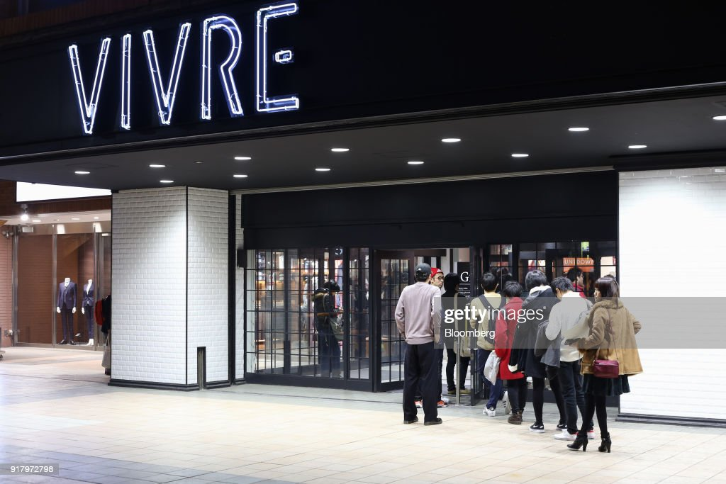 Customers line up outside the OPA Co. Vivre Yokohama store in Yokohama, Japan, on Saturday, Feb. 3, 2018. Japans economy expanded for an eighth quarter, with its gross domestic product (GDP) grew at an annualized rate of 0.5 percent in the three months ended Dec. 31, but the pace of growth fell sharply and missed expectations. Photographer: Takaaki Iwabu/Bloomberg via Getty Images