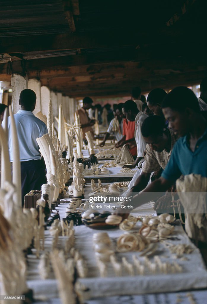 Customers look at carved ivory merchandise at a 'thieves' market' in Kinshasa. Poaching and the illegal trafficking of ivory are an ongoing problem in Zaire (now the Democratic Republic of Congo).