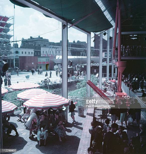 Customers on a cafe terrace at the Festival of Britain site on the South Bank London 1951