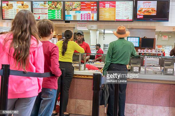 Customers on line at a busy Wendy's fast food restaurant in New York on Wednesday, May 6, 2015. Wendy's announced that that is will only use...