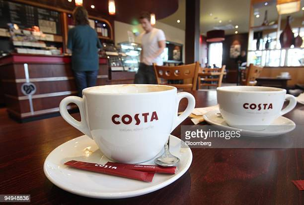 Customers order drinks at a Costa Coffee shop owned by Whitbread Plc in London UK on Tuesday April 28 2009 Whitbread Plc the owner of Premier Inn...
