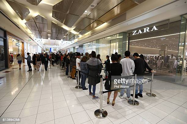 Customers queue for the opening of New Zealand's first Zara store at Sylvia Park on October 6 2016 in Auckland New Zealand