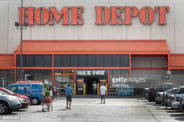 Customers shop at a Home Depot store on July 26 2017 in Chicago Illinois A shortage of singlefamily homes for sale in the US is driving up home...