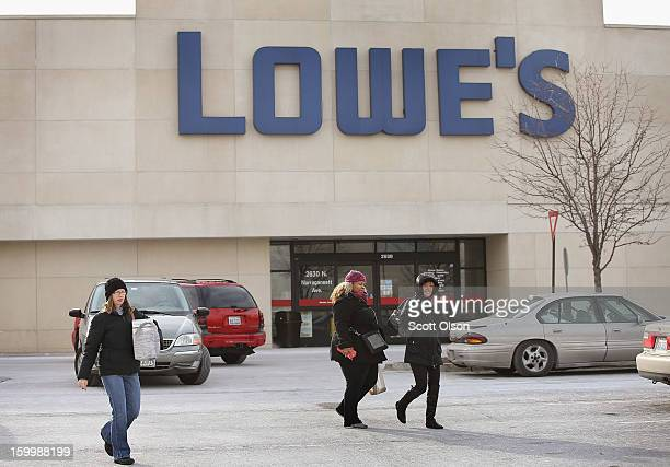 Customers shop at a Lowe's home improvement store on January 24 2013 in Chicago Illinois Lowe's said they plan to hire 45000 parttime workers this...