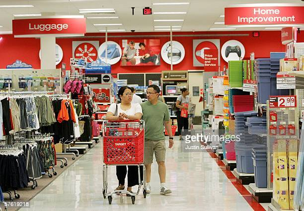 Customers shop at a Target store May 15 2006 in Albany California Target announced a 12 percent rise in profit in its quarterly earnings report...