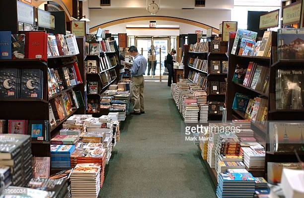 Customers shop at Barnes and Noble in Rockefeller Center May 1 2003 in New York City
