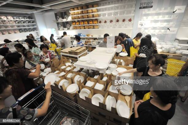 Customers shop during the test run of Shandong's first IKEA store on August 18 2017 in Jinan China The first IKEA store in Shandong province will...
