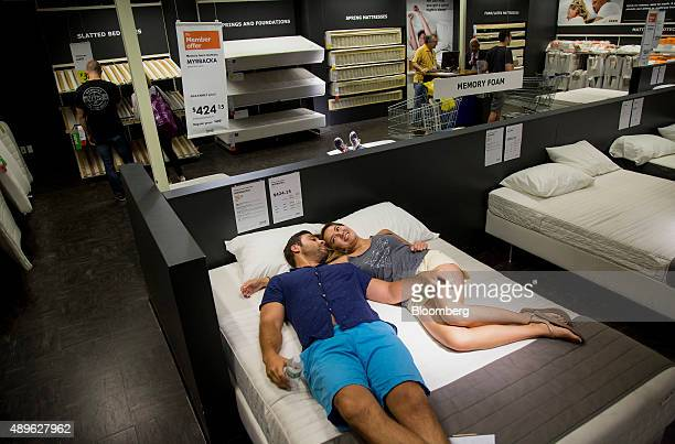 Customers shop for beds at an Ikea store in the Brooklyn borough of New York US on Saturday Sept 19 2015 The US Census Bureau is scheduled to release...