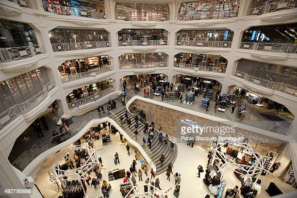 Customers shop for clothes during the inaguration day of Primark Gran Via store on October 15 2015 in Madrid Spain Primark opened the largest Spanish...
