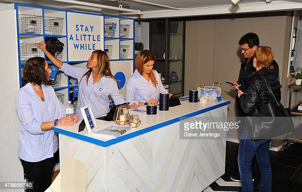 Customers sign in to expeience the comfort of the new Casper mattress at the Casper Hosts Snooze Bar event on June 10 2015 in San Francisco California