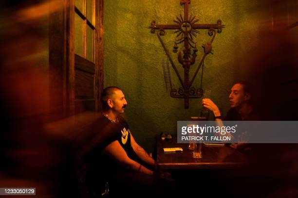 Customers sit on the outdoor patio at Risky Business, that was once The Other Door but closed during the Covid-19 pandemic in the North Hollywood...