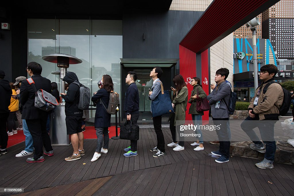 Customers Stand In Line Outside KT Corps Olleh Square Flagship Store Ahead Of