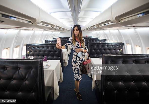 Customers use iphone take picture in airplane restaurant on September 9 2016 in Wuhan Hubei province China Different from the past airplane theme...