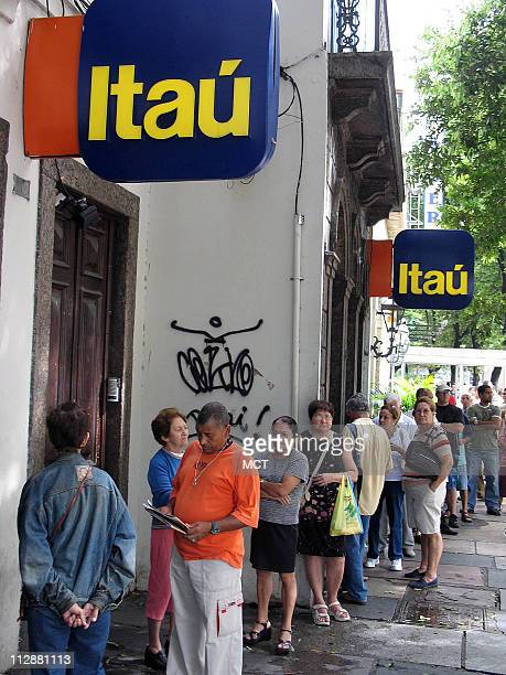Customers wait February 8 at a Rio de Janeiro Brazil branch of the bank Itau the country's third biggest bank in assets Bank credit has more than...