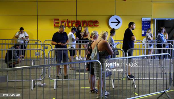 Customers wait in line for the opening of an Ikea store on June 01, 2020 in Reading, United Kingdom. The furniture and housewares chain reopened its...