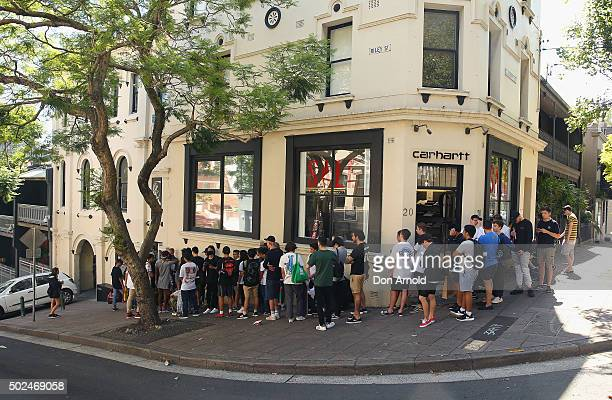 Customers wait outside Supply Store in Burton St Darlinghurst during the Boxing Day sales on December 26 2015 in Sydney Australia Boxing Day is one...