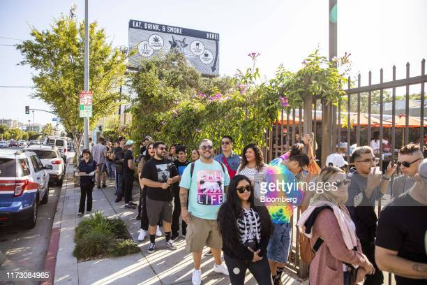 Customers wait to get into the Lowell Cafe, a new cannabis lounge, in West Hollywood, California, U.S., on Tuesday, Oct. 1, 2019. America's first...
