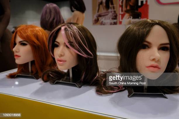 Customisable sex dolls heads on display at the Asia Adult Expo 2017 at Hong Kong Convention and Exhibition Centre in Wan Chai Hong Kong 30AUG17...