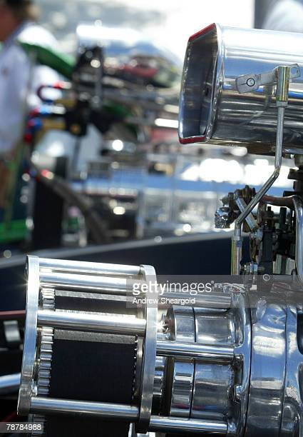 A customised car engine is displayed at Street Machine Summernats 21 Car Festival at Epic Park on January 5 2008 in Canberra Australia 110000 people...