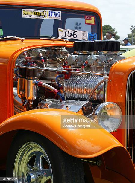 A customised car engine is displayed during Street Machine Summernats 21 Car Festival at Epic Park on January 5 2008 in Canberra Australia 110000...