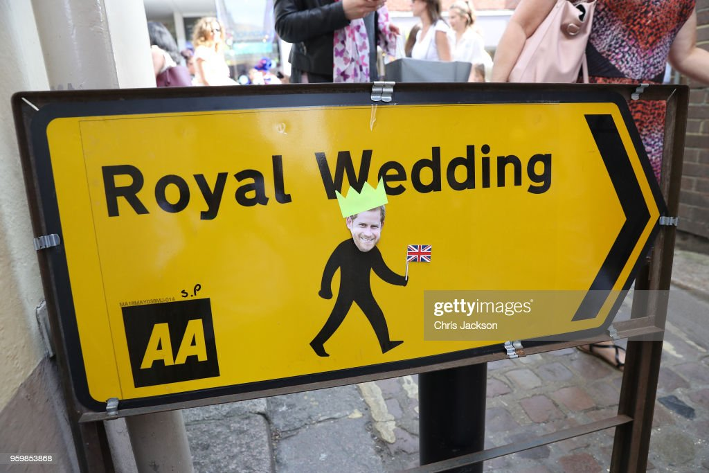 A 'customised' road sign is seen ahead of the royal wedding of Prince Harry and Meghan Markle on May 18, 2018 in Windsor, England.