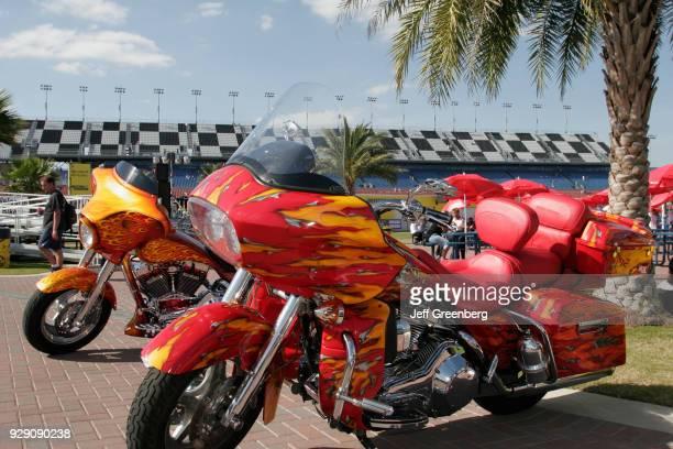 Customized bikes in the Fan Zone on the International Speedway at Daytona Beach