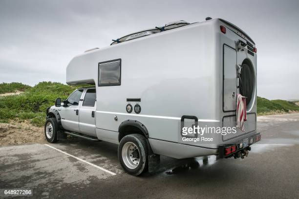 Customized Ford F550 Earth Roamer recreational vehicle is parked on February 8 in Jalama Beach, California. Because of its close proximity to...