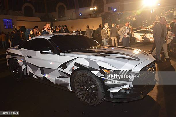 A customized Ford Mustang is exhibited during the Ford Mustang' Art Installation Party at the Manege de La Caserne de la Garde Republicaine on...