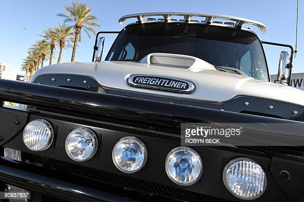 A customized Freightliner truck is on display at the 2009 SEMA Show in Las Vegas Nevada on November 3 2009 The SEMA show is a trade show which...