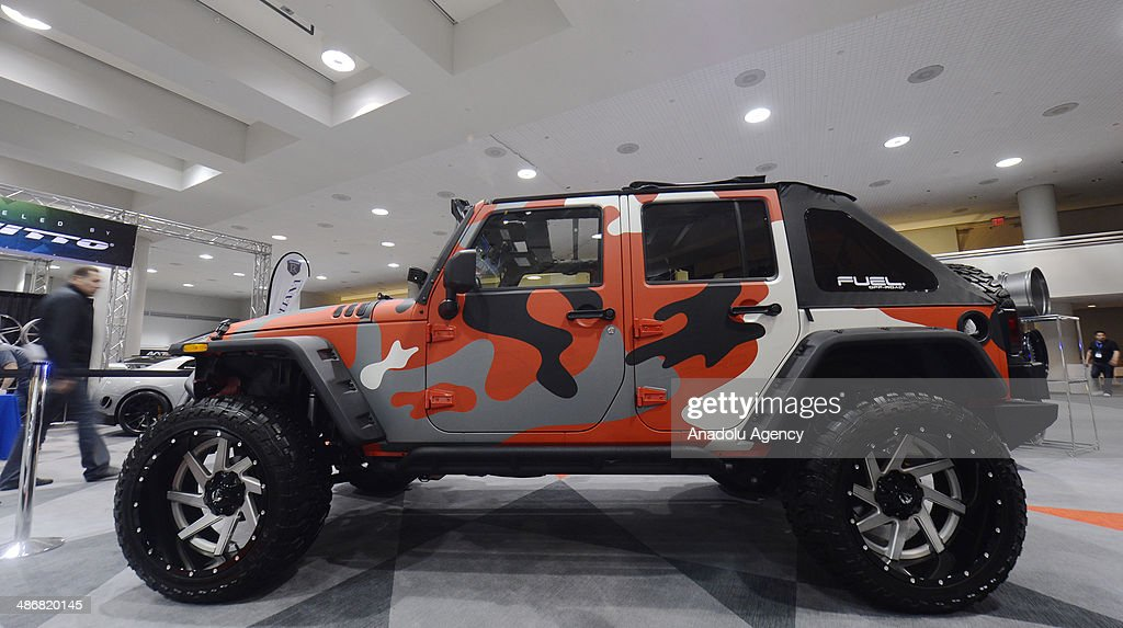 A customized Jeep with Fuel off-road wheels is seen during the 2014 New York International Auto Show at the Jacob Javits Center New York, United States on April 25, 2014.