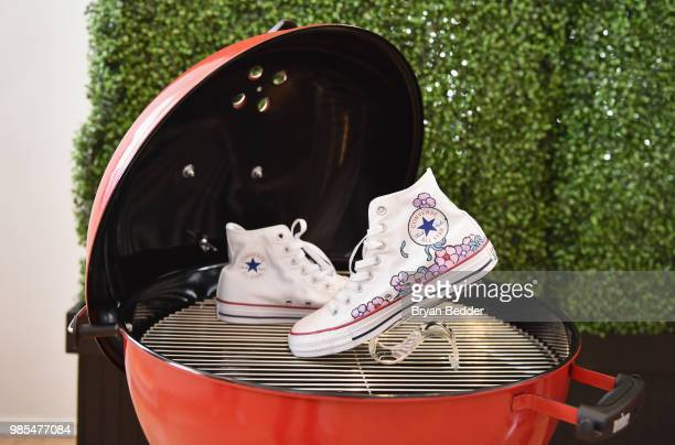 Customized shoes are seen during DSW Block Party hosted by Olympians Adam Rippon and Mirai Nagasu on June 27 2018 at Ramscale Studio in New York City
