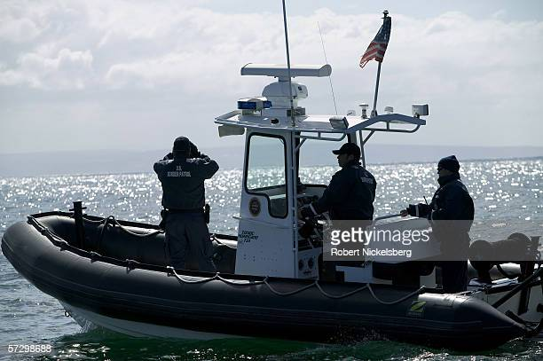 Customs and Border Patrol agents of the Marine Interdiction Unit search the horizon for Mexican smuggling boats at the opening of the San Diego...