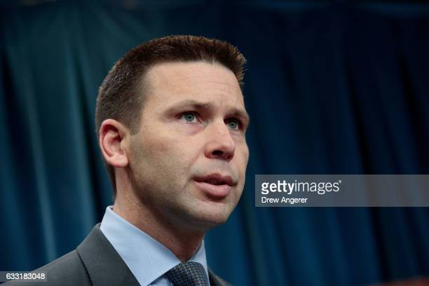 S Customs and Border Protection Acting Commissioner Kevin McAleenan speaks during a press conference January 31 2017 in Washington DC On Monday night...