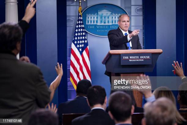 US Customs and Border Protection acting Commissioner Mark A Morgan speaks during a briefing at the White House on October 8 in Washington DC