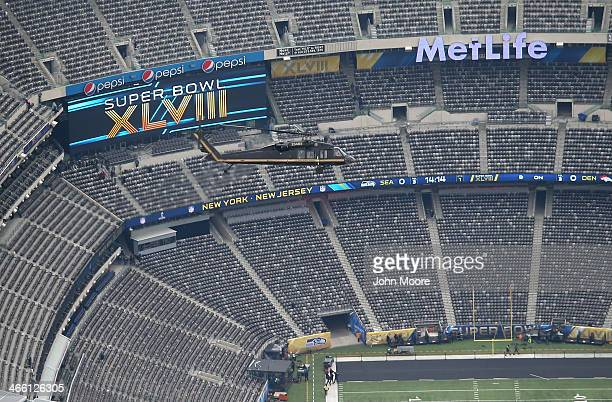 Customs and Border Protection , Blackhawk helicopter flies past MetLife Stadium ahead of Super Bowl XLVIII on January 31, 2014 in East Rutherford,...