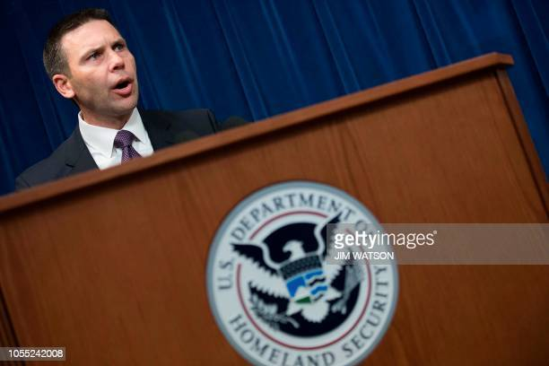 US Customs and Border Protection Commissioner Kevin McAleenan speaks about the Department of Defense deployment to the Southwest border during a...