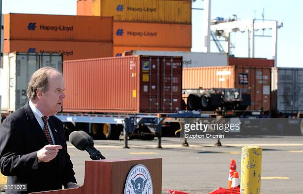Customs and Border Protection Commissioner Robert C. Bonner speaks at Global Marine Terminal March 22, 2004 in Jersey City, New Jersey. Commissioner...
