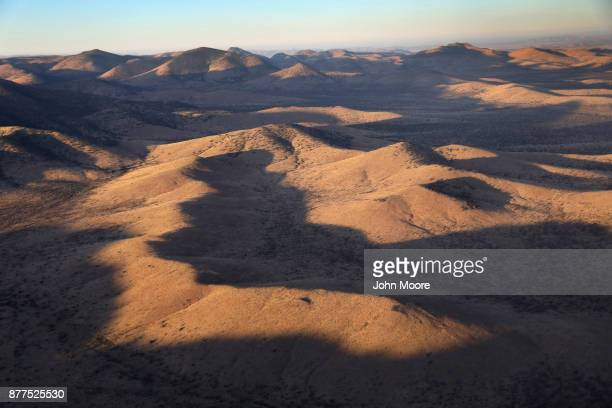 Customs and Border Protection helicopter flies over the Big Bend area on November 22 2017 near Van Horn Texas Federal agents are searching for...