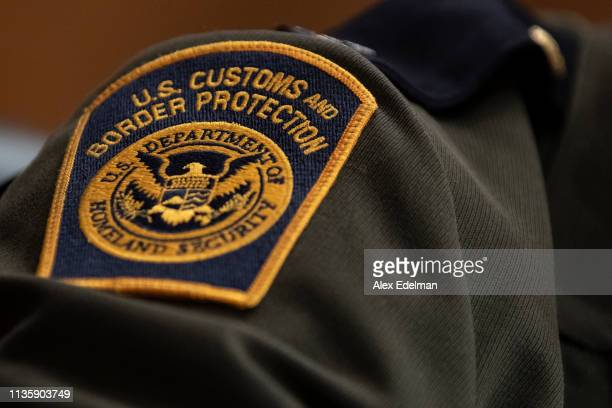 S Customs and Border Protection patch on the uniform of Rodolfo Karisch Rio Grande Valley sector chief patrol agent for the US Border Patrol as he...