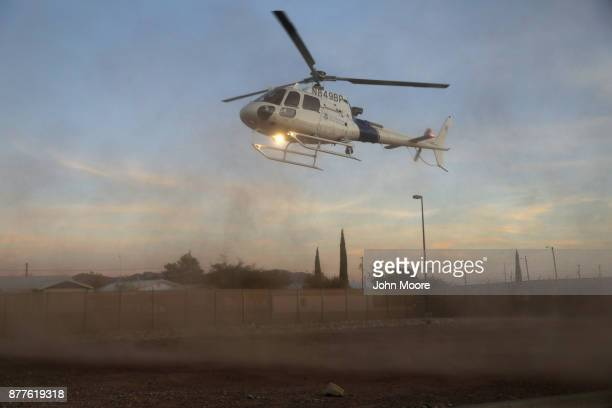 S Customs and Border Protection pilot lands after flying over the Big Bend area of west Texas on November 22 2017 near Van Horn Texas Federal agents...