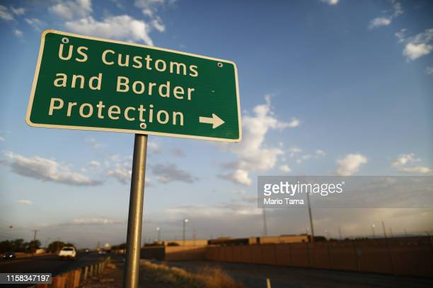 Customs and Border Protection sign is posted outside the U.S. Border Patrol station where lawyers reported that detained migrant children were held...