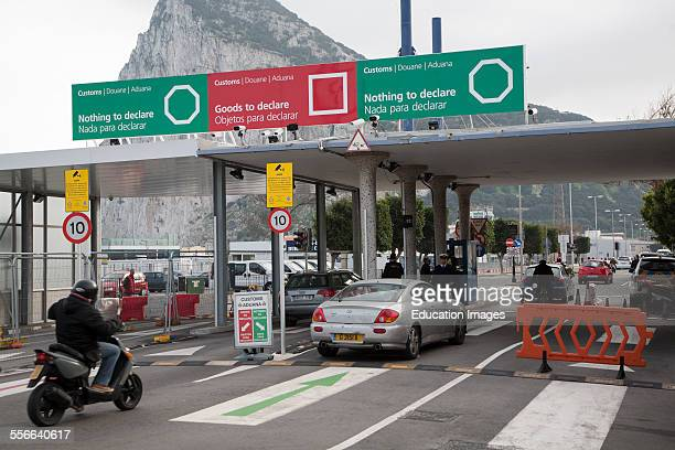 Customs at the border between Spain and Gibraltar British overseas territory in southern Europe
